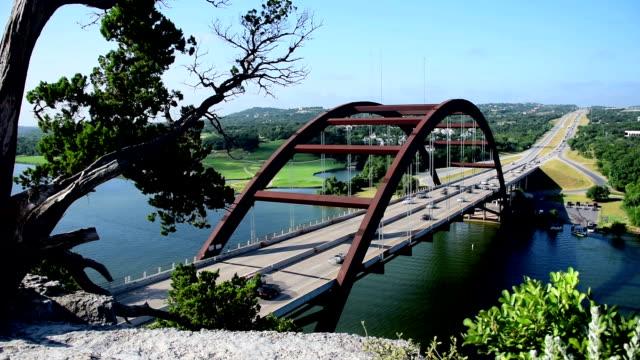 Pennybacker Bridge or 360 Bridge Standard Tree Angle on a Sunny Summer Day