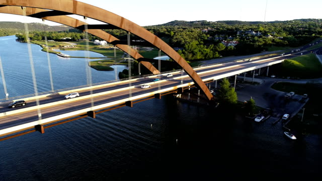 Pennybacker Bridge turning and following a car across the bridge