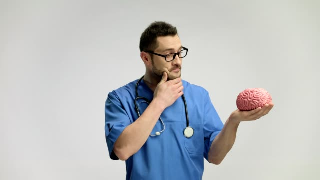 Pensive doctor looking at a brain model Pensive doctor looking at a brain model against gray background cerebellum stock videos & royalty-free footage