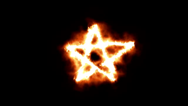 Pentagram Symbol Lighting up and Burning in Flames video