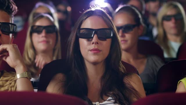 People 3D watching movie video