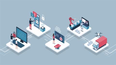 menschen und blockchain dinge infografik - blockchain stock-videos und b-roll-filmmaterial