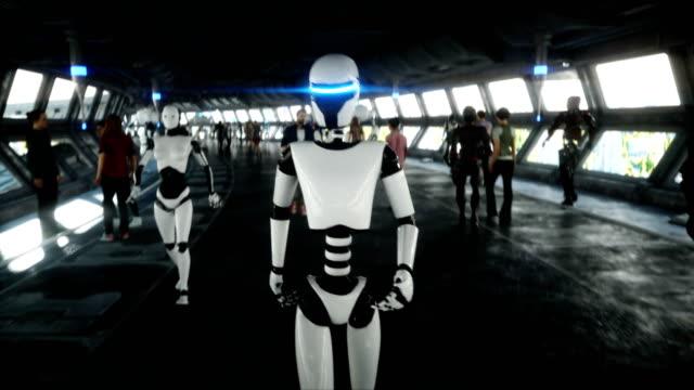 menschen und roboter. sci fi tonnel. futuristischer verkehr. konzept der zukunft. realistische 4k-animation. - futuristisch stock-videos und b-roll-filmmaterial