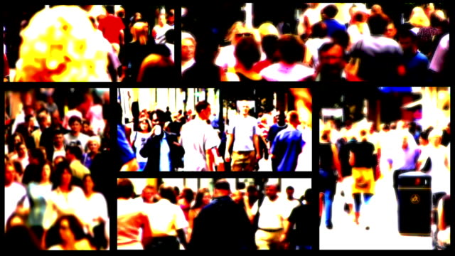 People and Shoppers Urban Lifestyle Montage. HD, NTSC, PAL video