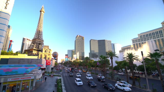 People and traffic at Las Vegas Strip video