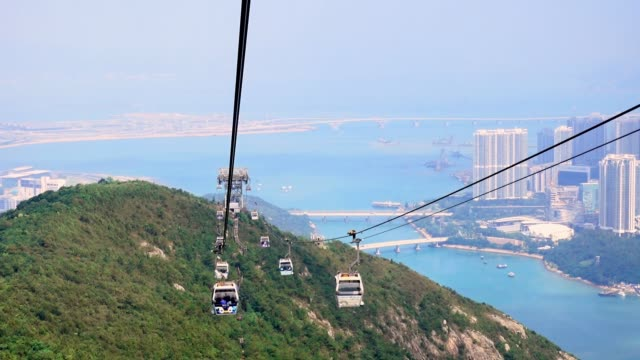 People are travel on Ngong Ping Cable car Gondola to see the Big Buddha