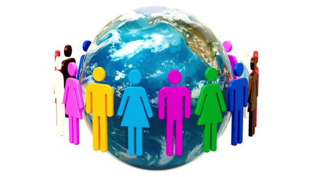 People around the Earth Globe animation. 3D rendering