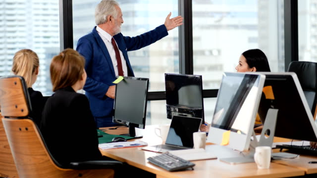 People at work, young girl team is working in modern office with boss