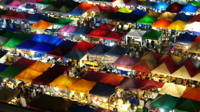 People Bustling in Train Night Market, Bangkok video