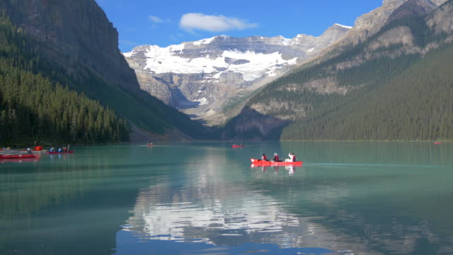 People canoeing on Lake Louise