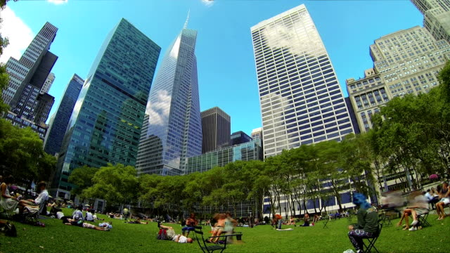 People chilling in Bryant Park, New York video