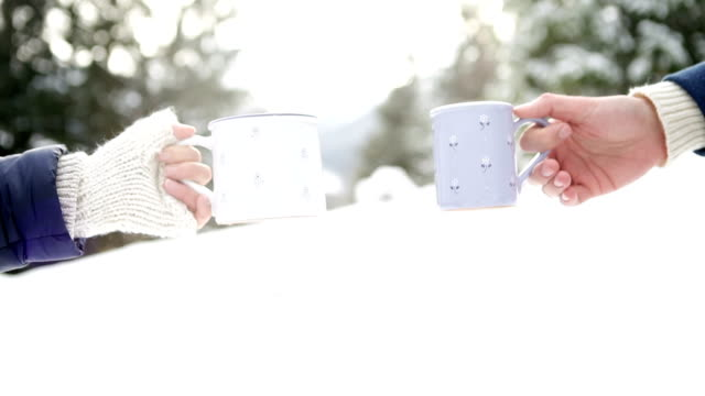 People clink Christmassy looking mugs drinking hot beverages in the winter forest People clink Christmassy looking mugs drinking hot beverages in the winter forest mug stock videos & royalty-free footage