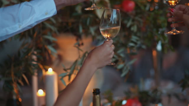 people clink glasses of champagne - cena natale video stock e b–roll