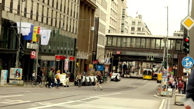 People cross the road in a modern city, slow-motion shooting. Berlin, Germany video
