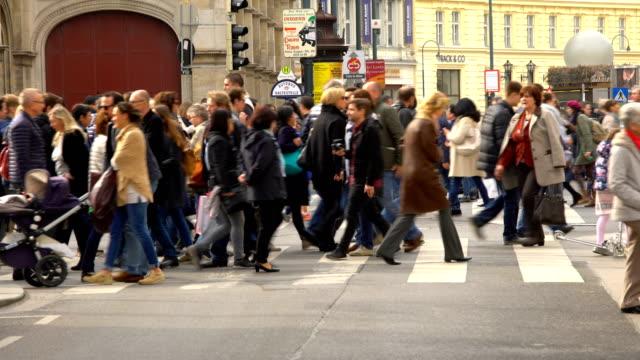 People crossing a street in Vienna video