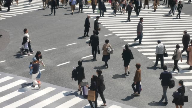 stockvideo's en b-roll-footage met mensen crossing day time - stadsweg