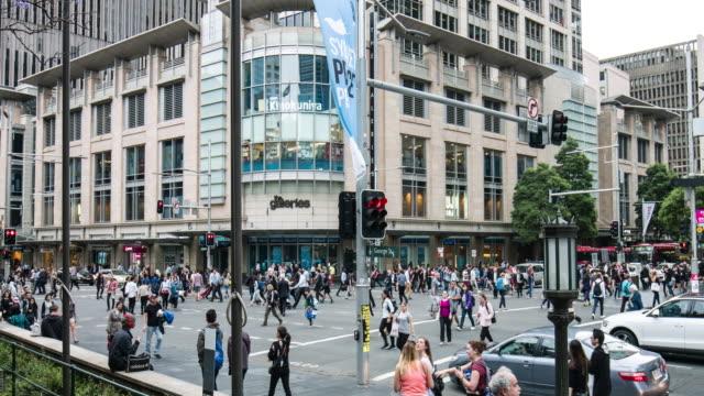 People crossing George Street at Sydney video