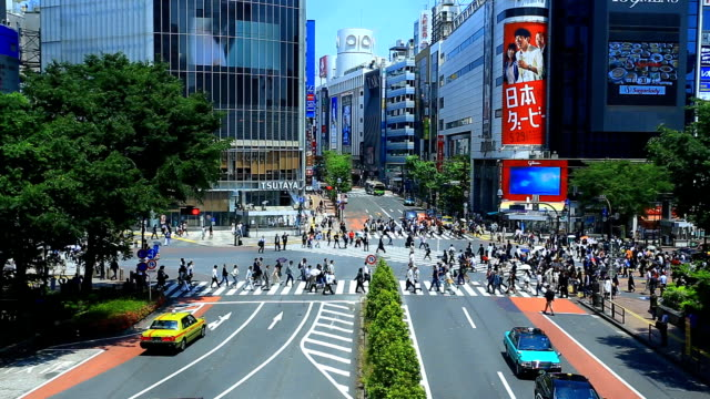 人們穿越澀谷 - 澀谷交叉點 個影片檔及 b 捲影像