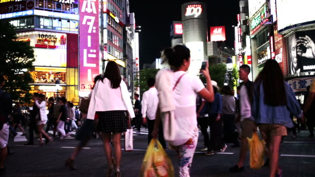 People Crossing the Road at Shibuya Japan video