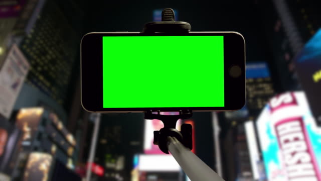 People crowd green screen chromakey New York City Time Square video