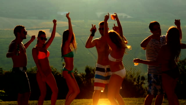 people dancing at sunset. - bachelorette party stock videos and b-roll footage
