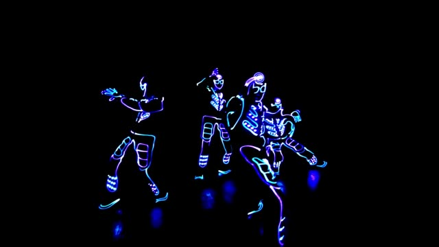 4 people dancing in costumes of LEDs 4 people dancing in costumes of LEDs suit videos stock videos & royalty-free footage