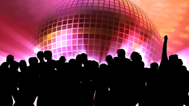 people dancing silhouette and disco ball - prom stock videos and b-roll footage