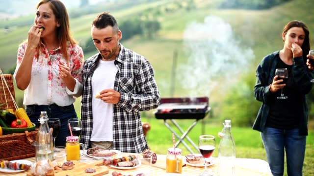 people doing a bbq in the rural countryside video