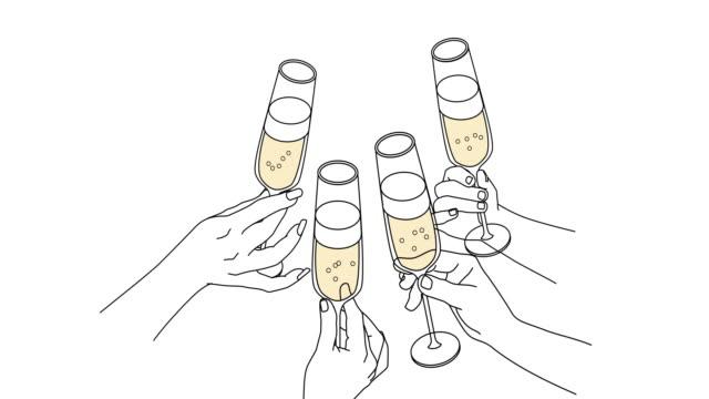 vidéos et rushes de les gens boivent du champagne - flûte à champagne