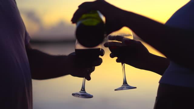 日没時にワインを飲む人 - ワイングラス点の映像素材/bロール
