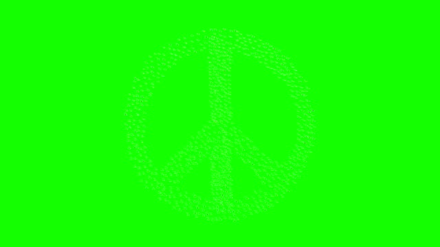 People form peace sign on green screen. video
