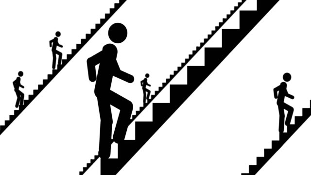 People go up the stairs video