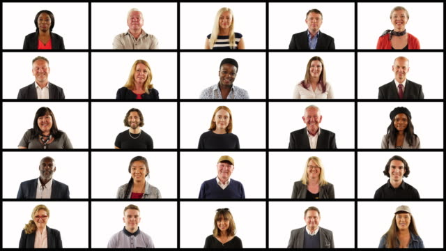 4K: People grid montage - Lots of people looking at the camera in squares Stock 4K video clip footage of a large group of people looking at the camera. They are in a grid or squares. It's a collage or montage of human faces. individuality stock videos & royalty-free footage