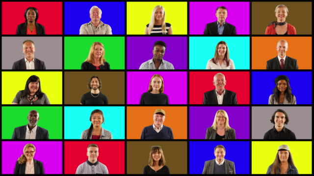 4K: People grid montage - Lots of people looking at the camera in multi-colouredsquares