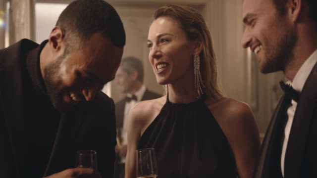 People having a good time together at a party Group of friends having a discussion over a few drinks and meeting a couple at party. Multi-ethnic people are laughing and having a good time together at a party. affluent lifestyles stock videos & royalty-free footage