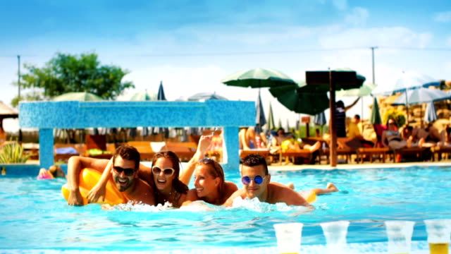 people having fun in a swimming pool - bachelor party stock videos and b-roll footage