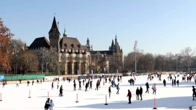People having fun in famous ice skating rink in Budapest BUDAPEST, HUNGARY - JANUARY 17, 2019 : Ice skating rink near Vajdahunyad Castle in the City Park of Budapest hungary stock videos & royalty-free footage