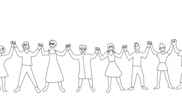 ludzie trzymający się za ręce - doodles filmów i materiałów b-roll