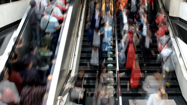 HD: People hurrying in the station, Shanghai. Time Lapse video