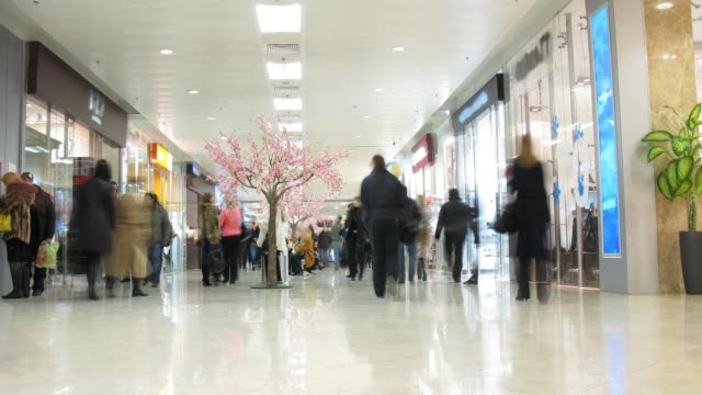People in shopping corridor, time lapse video