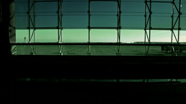 People in terminal of airport. Green color grading video
