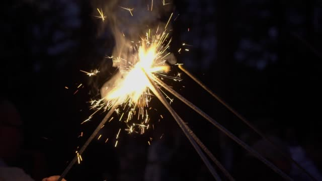 People light sparklers on the street video
