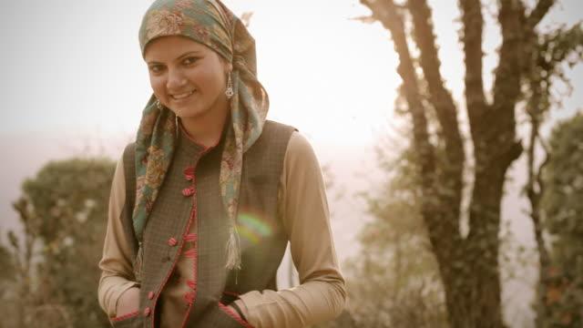 People of Himachal Pradesh: Beautiful young woman and sunshine video