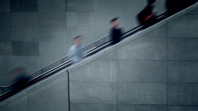 people on the escalator - time lapse video