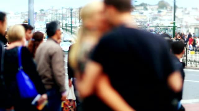 HD: People Passing Through the Crosswalk video