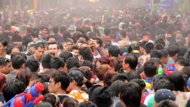 People playing water in Songkran festival video