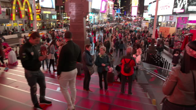 People POV point of view Time Square New York City crowd video