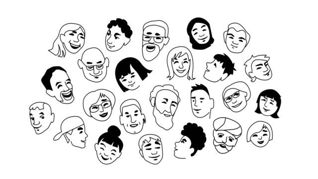 portrety osób - doodles filmów i materiałów b-roll