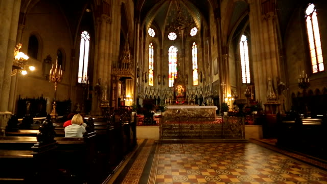 people praying in church, interior view of zagreb cathedral hall, religion - weights stock videos & royalty-free footage