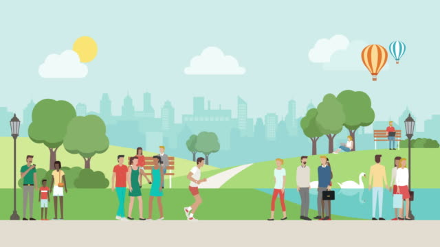 People relaxing at the park People relaxing at the park, walking and jogging, healthy lifestyle concept natural parkland stock videos & royalty-free footage